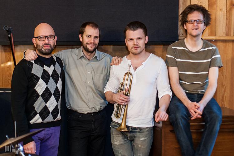 Trinity Skivinspelning. Ali Djeridi, Daniel Lantz, Karl Olandersson och Andreas Hellkvist.