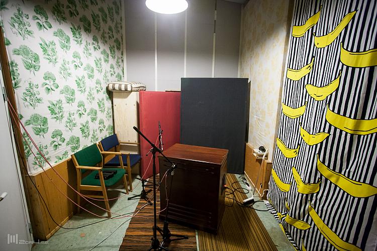 Trinity Skivinspelning Lesliet fick stå i ett eget rum.